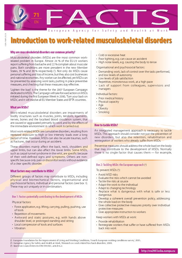work related musculoskeletal disorders Work-related musculoskeletal disorders among healthcare workers information about musculoskeletal disorders (msd) and safe work-related msds are defined as, disorders or injuries of muscles, tendons, nerves, ligaments, joints, or spinal discs that are caused or aggravated.